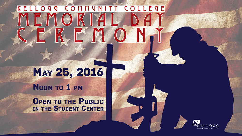 A graphic slide highlighting KCC's Memorial Day Ceremony scheduled for noon May 25 at the Binda Performing Arts Center.