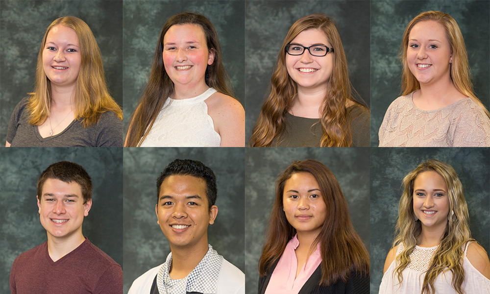 Portraits of the eight 2016 KCC Trustee Scholarship recipients.