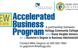 A text slide promoting KCC's new Accelerated Business Program.