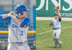 KCC baseball alum Travis Bolin at bat, left, and catching a fly ball, right.