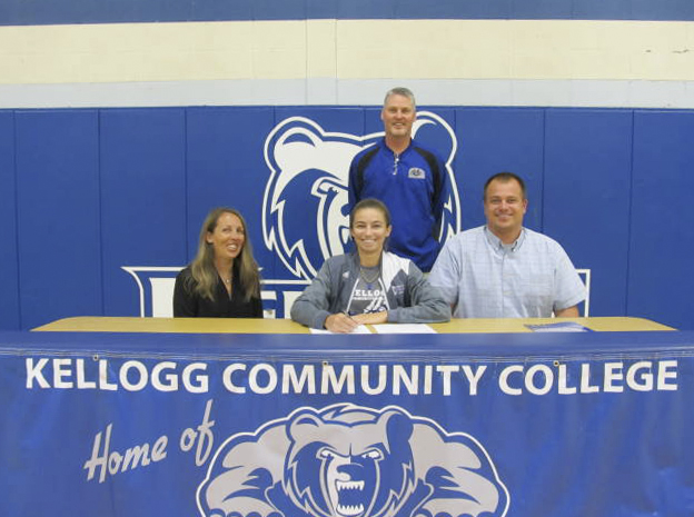 Pictured, from left to right, are Autumn Majdan (mother), KCC women's basketball player Julia Majdan, KCC woman's basketball coach Klingaman and Jim Majdan (father).