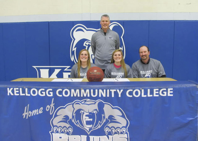 Pictured, from left to right, are women's basketball player Sydney Macomber, head women's basketball coach Klingaman, women's basketball player Taylor Macomber and Morgan Macomber (father).