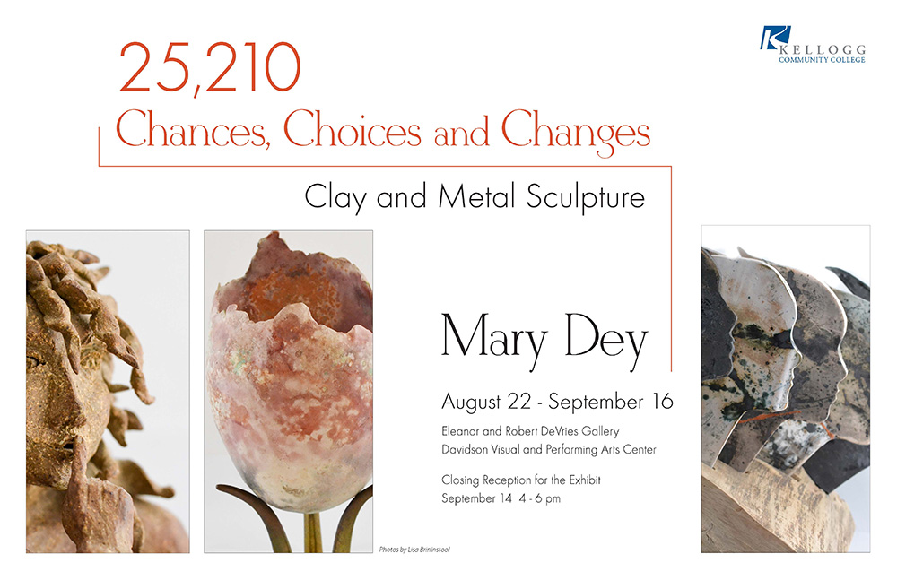 A postcard featuring sculptural works by Battle Creek artist Mary Dey, who is exhibiting in KCC's DeVries Gallery through Sept. 16.