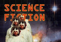 "A ""science fiction"" graphic featuring astronauts in space and promoting KCC's LITE 241: Science Fiction class."