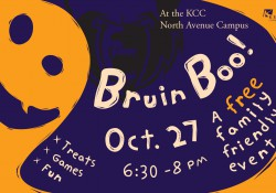 A text slide promoting KCC's upcoming Bruin Boo! community Halloween event on Oct. 27 on campus in Battle Creek.