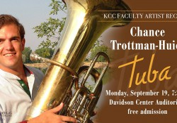 A promotional slide featuring tuba instructor Chance Trottman-Huiet, highlighting his Sept. 19, 2016, concert at KCC.