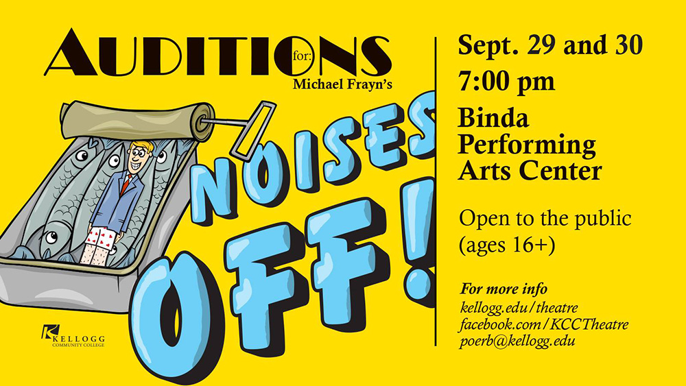 "A promotional slide highlighting auditions for KCC's fall play ""Noises Off!"" on Sept. 29 and 30."
