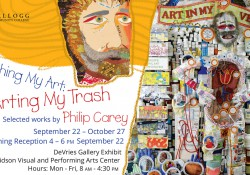 A promotional slide promoting artist Philip Carey's upcoming art exhibit at KCC.