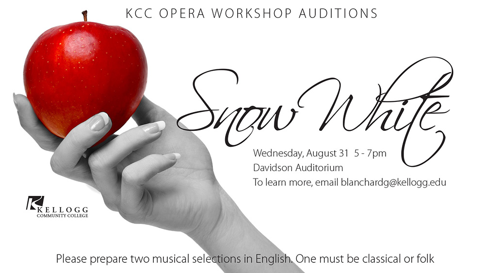 "A promotional slide highlighting auditions for KCC's Opera Workshop production of ""Snow White."""