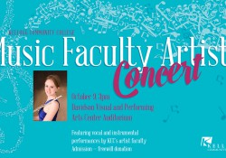 A slide promoting KCC's upcoming Music Faculty Artists Concert.