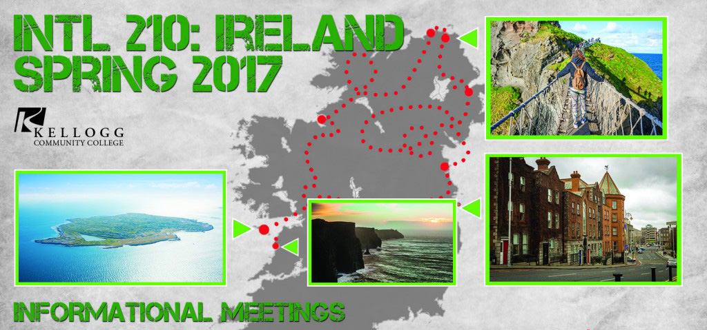 A graphic slide promoting upcoming information meetings about KCC's Spring 2017 trip to Ireland.