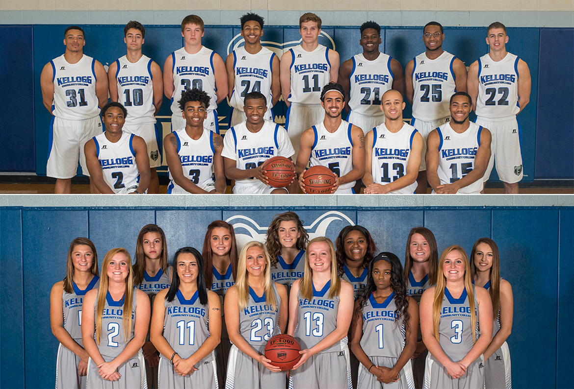 Team photos of KCC's 2016-17 men's and women's basketball teams.