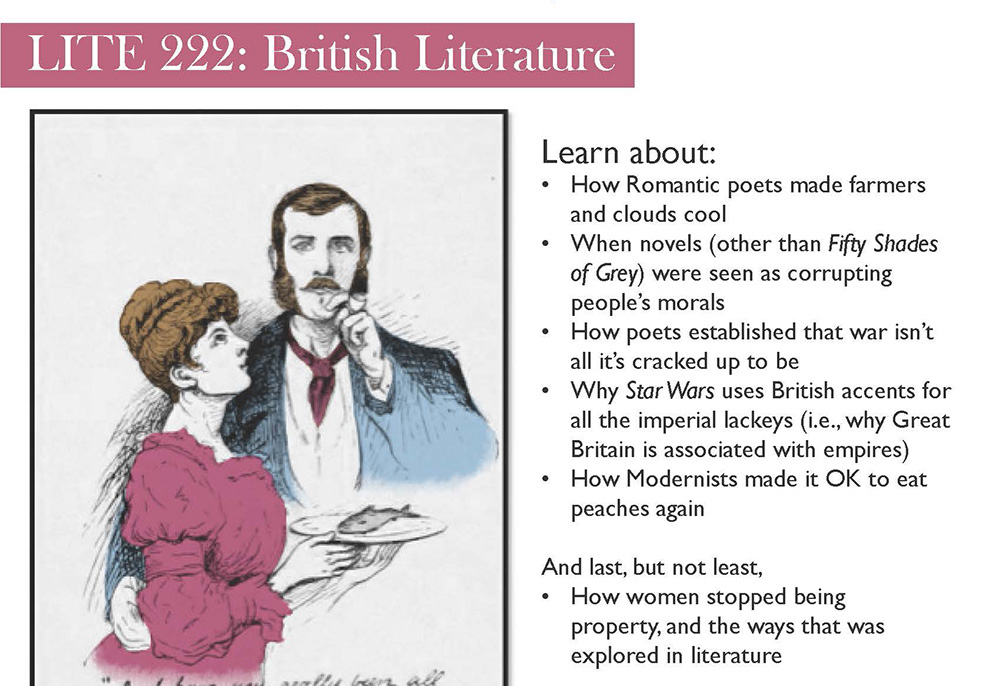 Detail from a flier advertising KCC's LITE 222: British Literature course.