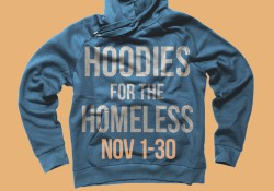 "A sweatshirt with text that reads ""Hoodies for the Homeless"" to promote the Bruin Bookstore's clothing collection this month."