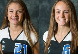 KCC's 2016 MCCAA Western Conference Volleyball Award winners Emily Delmotte and Kimberly Kusler.