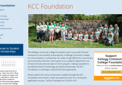 A screenshot of the Kellogg Community College Foundation homepage taken on Nov. 22, 2016.