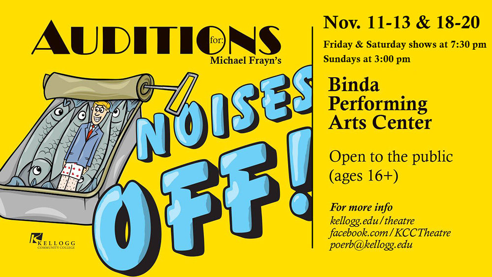 "A teaser card for KCC's upcoming play ""Noises Off!"""