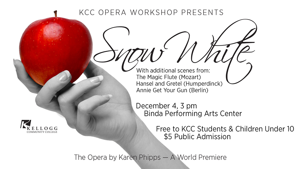 """A text slide featuring a hand holding an apple to promote KCC's Opera Workshop presentation of """"Snow White: The Opera."""""""
