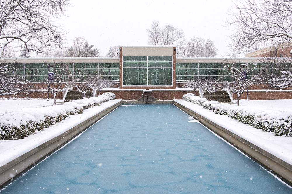 A view of the main entrance to KCC's North Avenue campus, looking over the reflecting pools in December.