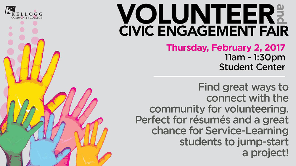 A text slide promoting KCC's Volunteer and Civic Engagement Fair, running 11 a.m. to 1:30 p.m. Feb. 2 in the Student Center on campus in Battle Creek.