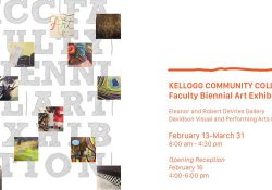 A text and graphic slide highlighting the KCC Faculty Biennial Art Exhibition, running Feb. 13 through March 31 at KCC.