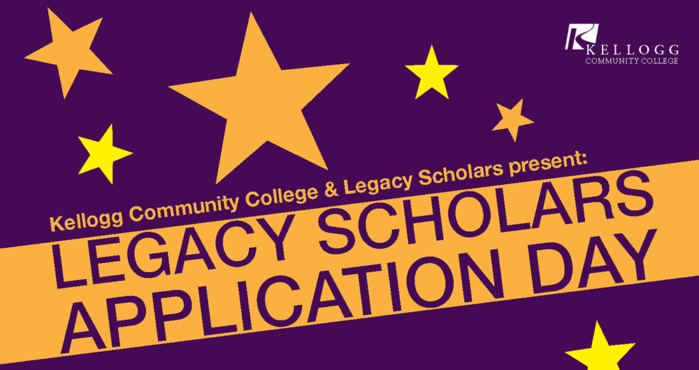 A text slide highlighting KCC's upcoming Legacy Scholars Application Days, to be held from 2 to 6 p.m. March 8 and 9 at KCC.