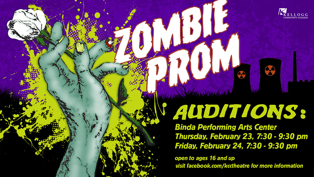 "A text and graphic slide promoting auditions for KCC's upcoming spring musical ""Zombie Prom"" on Feb. 23 and 24."