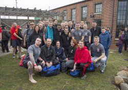 KCC Police Academy students and employees pose for a group photo before participating in the 2017 Kalamazoo and Calhoun County Polar Plunge in Kalamazoo.