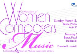 "A text slide highlighting KCC's ""Women Composers in Music"" concert beginning at 3 p.m. March 5 at the Binda Performing Arts Center."