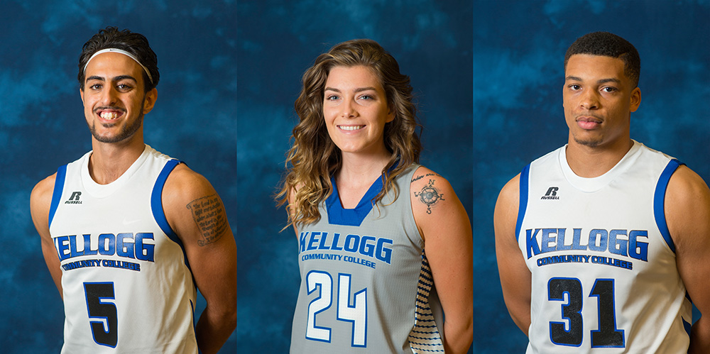 KCC basketball's MCCAA award-winners Mohammed Albagami, Taylor Jungel and Curtis Trigg.