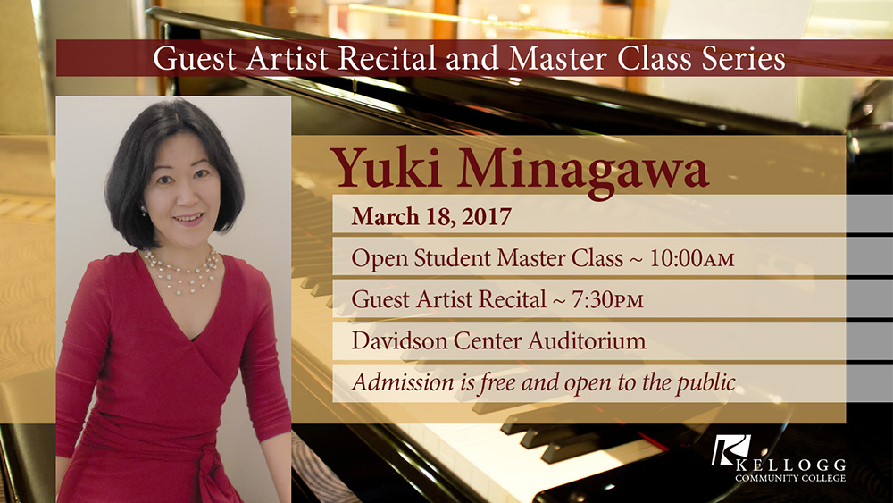 A promotional slide featuring an image of pianist Yuki Minagawa, highlighting her March 18, 2017 concert appearances at KCC.