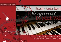 A graphic slide picturing an organ, promoting the upcoming Faculty Artist Recital with Dr. Mark Wells at 4 p.m. March 26, 2017, at St. Philip Catholic Church in downtown Battle Creek.