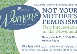 A promotional slide for an upcoming March 23, 2017, talk on feminism from speaker Kim Tran.