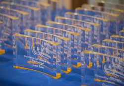 A closeup of awards given to students at the 2017 Awards Banquet.