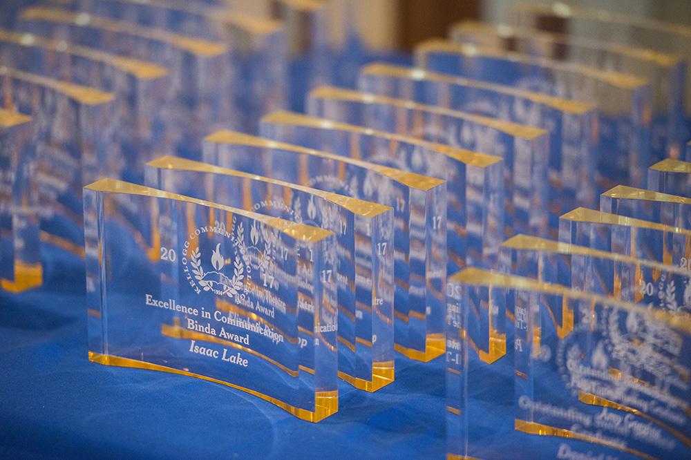 A closeup of awards given to students at the 2017 Awards Banquet.