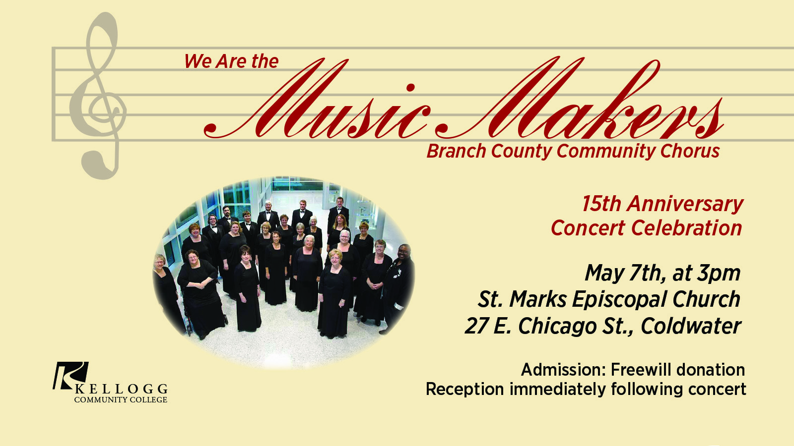 A promotional text slide highlighting the Branch County Community Chorus's May 7 concert in Coldwater.