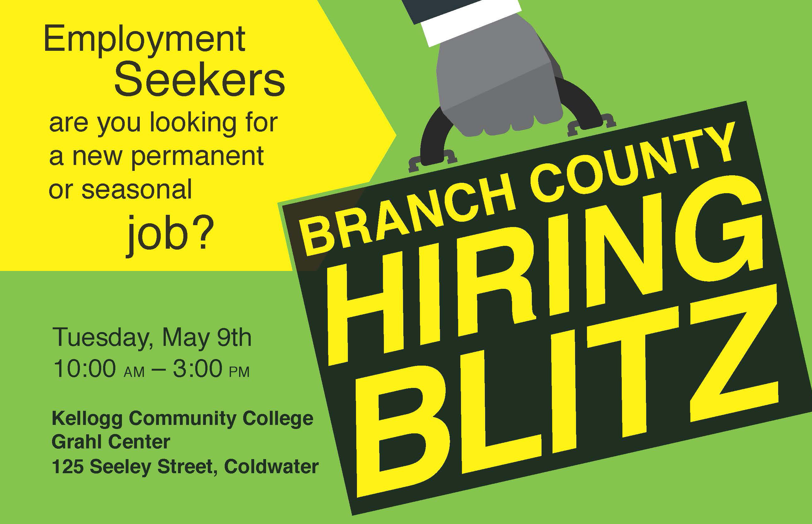 A text slide promoting the May 9 Branch County Hiring Blitz at the Grahl Center in Coldwater.