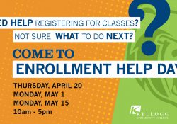 A text slide promoting KCC's Enrollment Help Days.