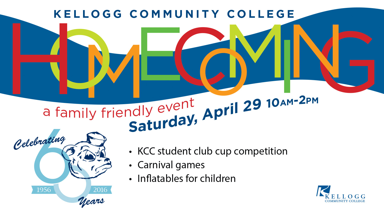 A text slide promoting KCC's Homecoming event, scheduled for 10 a.m. to 2 p.m. April 29.