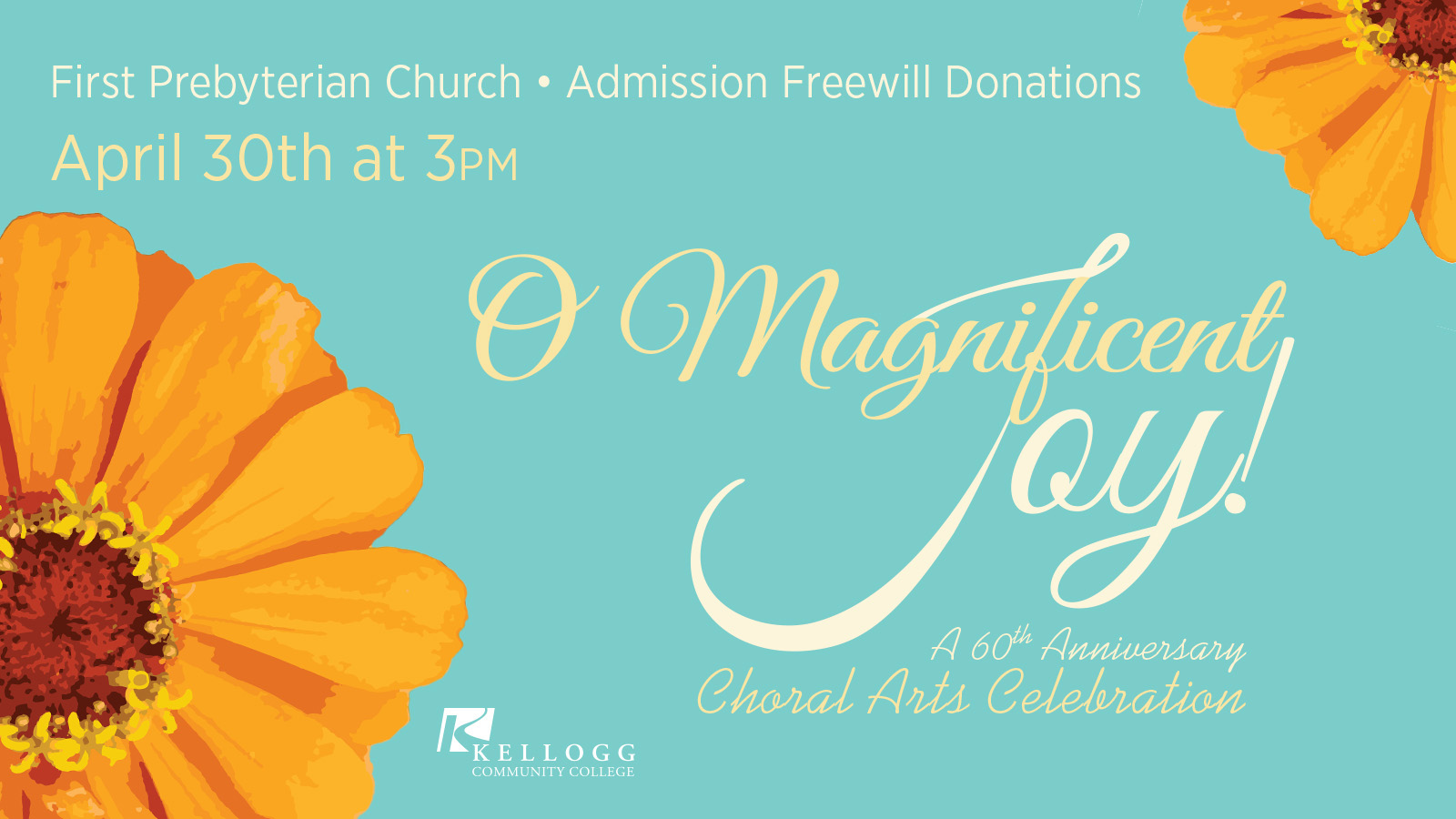 "A text slide promoting KCC's upcoming ""O Magnificent Joy!"" choral concert."