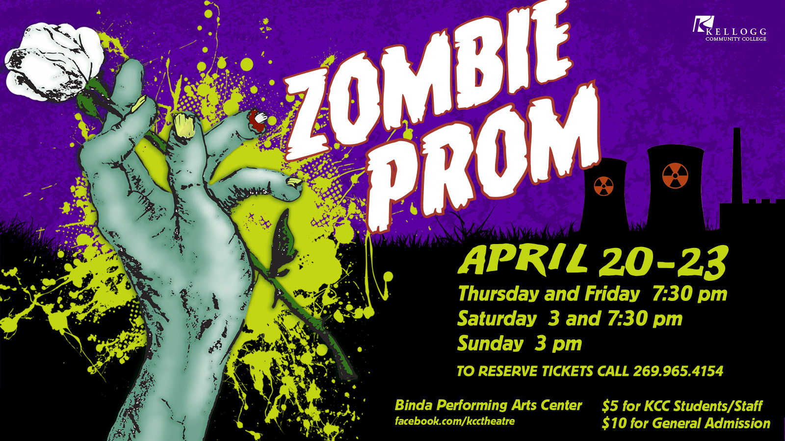 "An illustrated zombie hand holds a flower in a promo for KCC's upcoming musical ""Zombie Prom."""