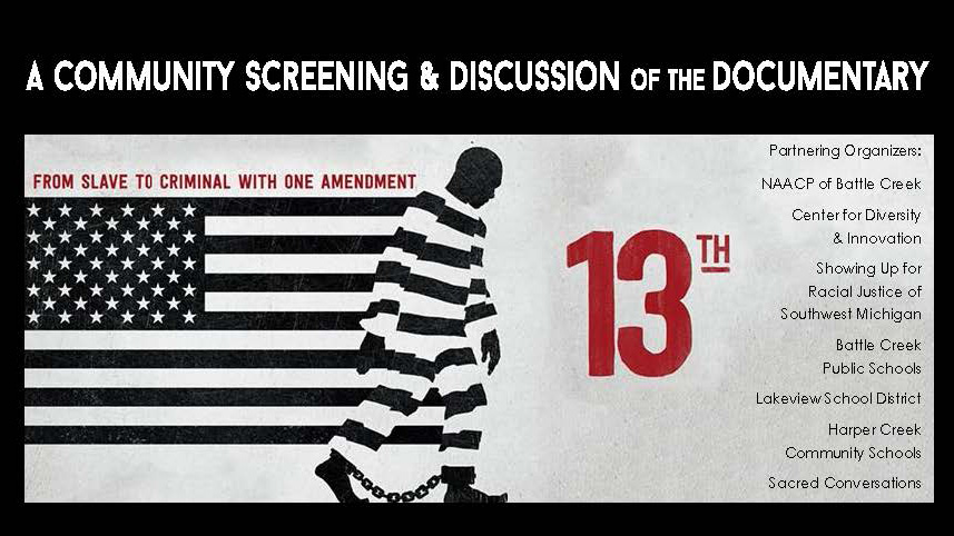 "A graphic/text slide highlighting the KCC Center for Diversity and Innovation's May 12 and 13 screenings of the documentary ""13th."""