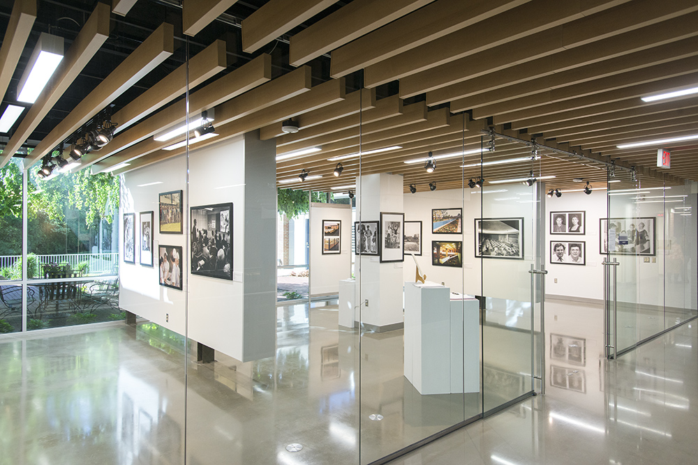 KCC's 60th anniversary art exhibit including historical photos from the College archives.