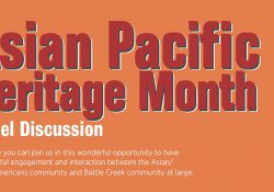 A text slide highlighting and upcoming Asian-Pacific American Heritage Month panel discussion event.