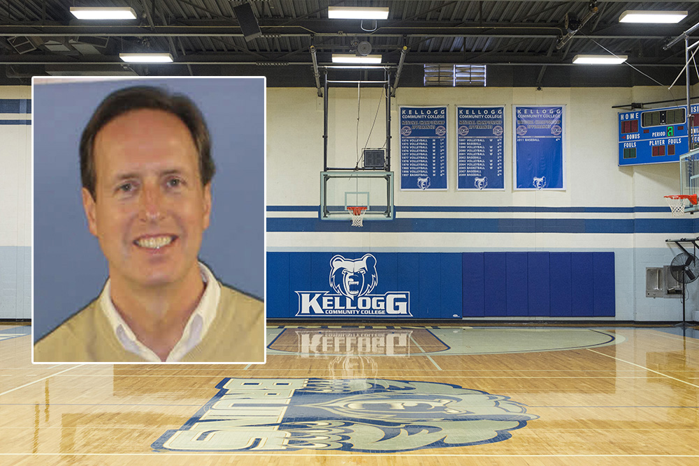 A portrait of KCC's head women's basketball coach Dic Doumanian superimposed over a photo of the old Miller Gym.