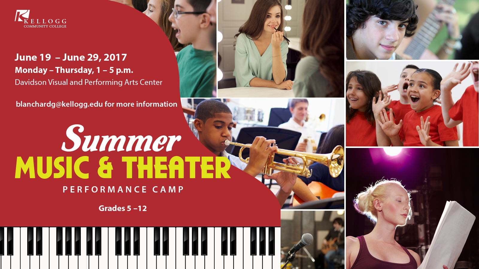 A promotional slide highlighting KCC's Summer Music & Theater Performance Camp for youth in June in Battle Creek.