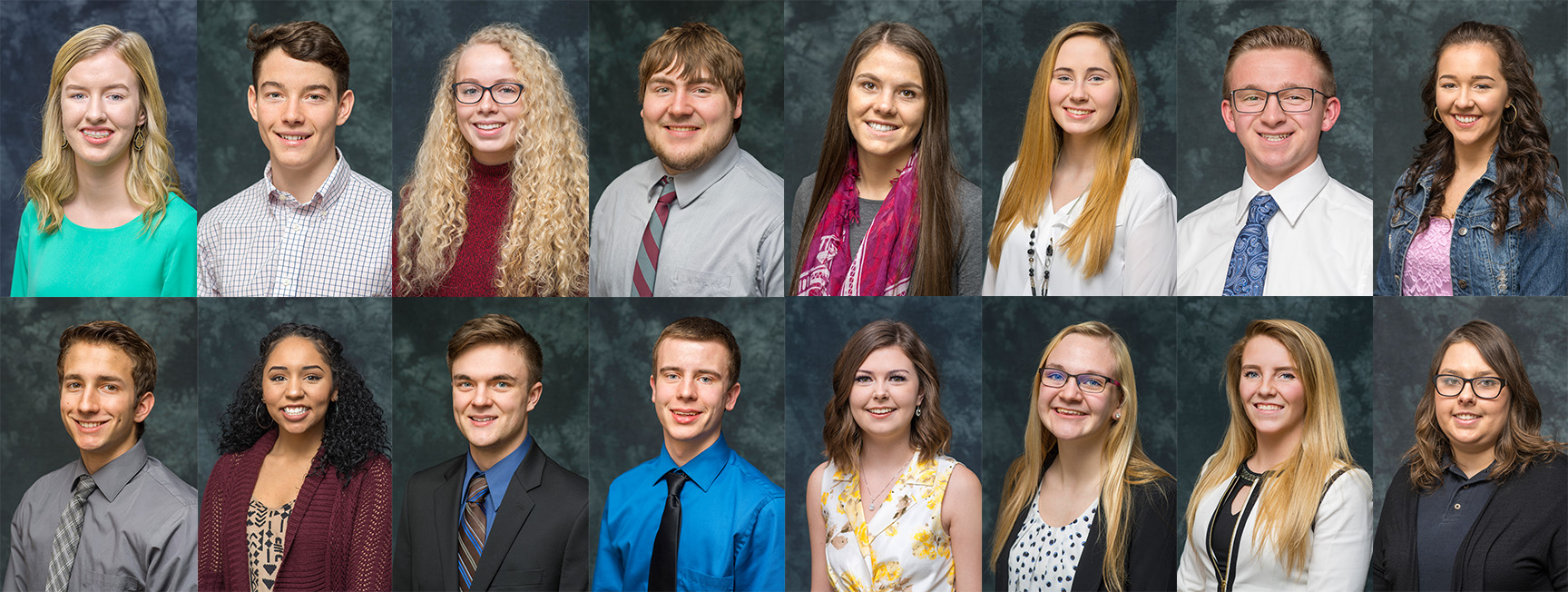 Portraits of the KCC Foundation's 16 2017-18 Gold Key Scholars.