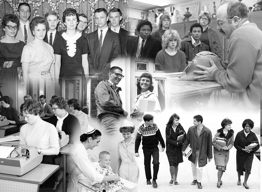 A collage of black and white archival photos of KCC students and staff.