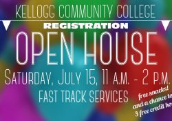 A text slide promoting KCC's upcoming Registration Open House, scheduled for 11 a.m. to 2 p.m. July 15, 2017, on campus in Battle Creek.