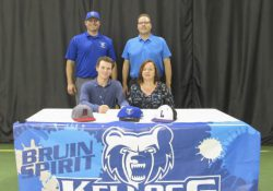 Pictured, in the front row, from left to right, are Zach Dehn and Jennifer Dehn (mother). Pictured in the back row, from left to right, are head KCC baseball coach Eric Laskovy and Karl Dehn (father).